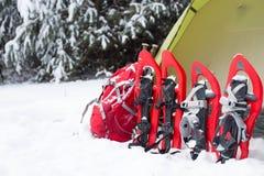 snowshoeing Sneeuwschoenen in de sneeuw Royalty-vrije Stock Foto's