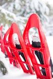 snowshoeing Snowshoes im Schnee Lizenzfreie Stockbilder