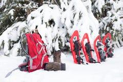 snowshoeing Snowshoes im Schnee Stockfoto