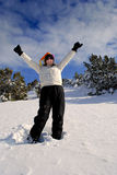 Snowshoeing in Winter Stock Images