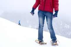 Snowshoeing and winter fun Stock Images
