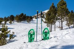 Snowshoeing on winter trail in Incredible sunny day in winter in the Pyrenees in Andorra. Ransol, Canillo, Andorra stock images