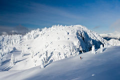 Snowshoeing in Winter Wonderland. A man snowshoeing in the winter wonderland of Mt Seymour, Vancouver Stock Photos