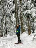 Snowshoer chodzi oszałamiająco piękno zima krajobraz na Cyprysowej górze i podziwia zdjęcie royalty free