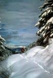 Snowshoer in deep snow Stock Photo