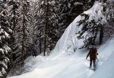 Snowshoer in deep snow, Royalty Free Stock Photography