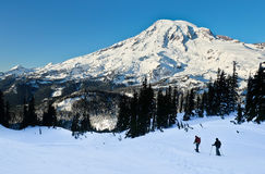 Snowshoers in Mt Rainier National Park Royalty Free Stock Image