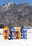 4 snowshoes в горах в зиме Стоковые Изображения