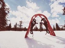 Snowshoes в снеге След зимы над снежными холмами и горами Стоковые Изображения RF