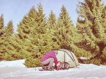 Snowshoes человека установленные и trekking ручки для прогулки Светлый шатер стоковое фото rf
