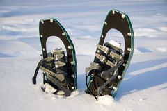 Snowshoes. Snowshoeing. Snowshoes in the snow. Photo from Quebec, Canada royalty free stock photography