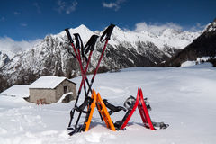 Snowshoes. In the snow after an excursion royalty free stock photos