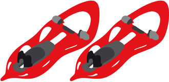 Snowshoes. Vectors illustration 2D shows snowshoes stock illustration