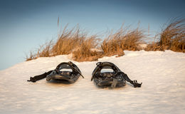 Snowshoes. On the snow in Prince Edward Island stock photography