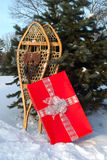 Snowshoes And Gift Stock Image