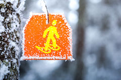 Snowshoes sign hiking marker on tree in winter forest trail Royalty Free Stock Photo