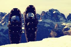 Snowshoes in snow at mountain peak, nice sunny winter day Royalty Free Stock Image