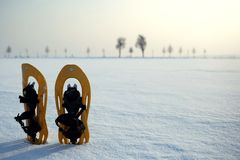 Snowshoes in a snowy landscape Royalty Free Stock Photo