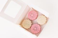 Snowskin Mooncake w pudełku Zdjęcia Royalty Free