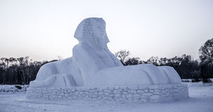 Snowskulpturer på den Harbin isen och Snowfestivalen i Harbin Kina Arkivbilder