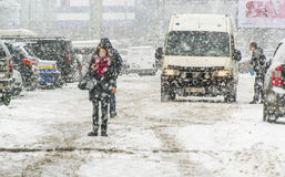 Snowstorm στην πόλη Στοκ Εικόνες