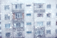 Snowstorm. Abstract photo of the snowstorm and residential building on a background Royalty Free Stock Image