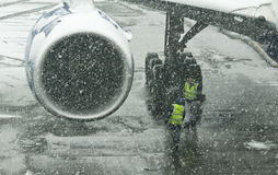 Snowstorm at airport Stock Photography