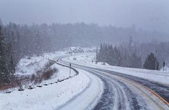 Snowstorm at Algonquin in winter stock photos