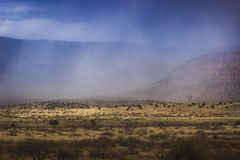 Snowstorm Approaching Verde Valley. Dramatic sky over Verde Valley as a snowstorm rolls in, with mountains in the background, near Clarkdale, Arizona Stock Photography