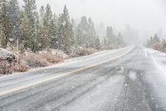 Snowstorm beginning in Yosemite National Park. Wet snowy road. Royalty Free Stock Photo