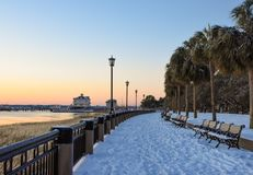 2018 Snowstorm in Charleston, SC. Sunrise at Waterfront Park in Charleston, after a freak snowstorm dumped over six inches on the low country.     Image taken Royalty Free Stock Images