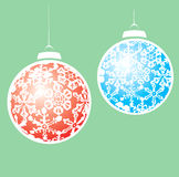 Snowstorm Christmas Ornaments Royalty Free Stock Photography