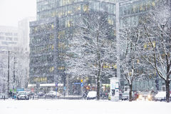 Snowstorm in the city Royalty Free Stock Images