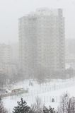 Snowstorm in the city Royalty Free Stock Image