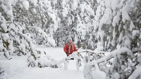 A snowstorm in December. The boy in a snowy forest. A snowstorm in December. The boy in a snowy forest stock footage