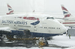 Snowstorm at Heathrow airport Royalty Free Stock Photos