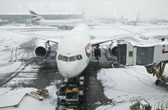 Snowstorm at Heathrow airport Royalty Free Stock Photography