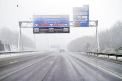 Snowstorm on the highway in Netherlands Stock Image