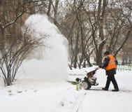 Snowstorm i Moscow Arkivfoto