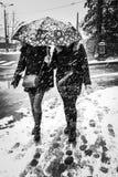 Snowstorm i staden Arkivbild