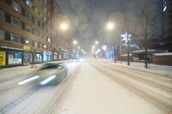 Snowstorm i Tampere Finland Royaltyfria Bilder