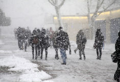 Snowstorm in Istanbul royalty free stock images