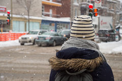 Snowstorm in Montreal. Stock Photography