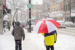 Snowstorm in Montreal. stock images