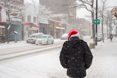Snowstorm in Montreal. Stock Photo