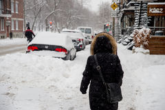 Snowstorm in Montreal. Royalty Free Stock Photo
