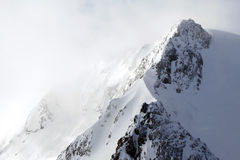 Snowstorm on mountains Stock Image