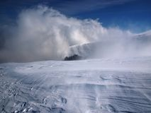 Snowstorm in the mountains Stock Photo