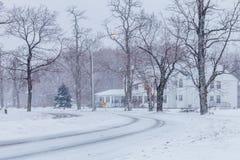 Snowstorm at non urban area. 2016 Stock Image