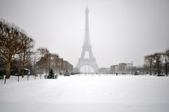 Snowstorm in Paris Stock Image